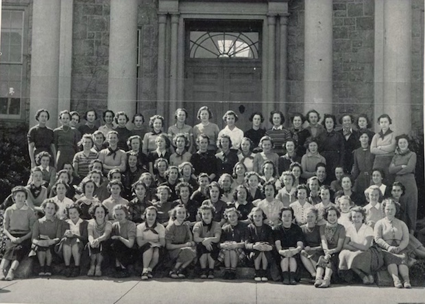 Jean Milligan attended the Connecticut College for Women for two years from fall 1936 to spring 1938 before dropping out, perhaps to be the woman in her father's household after her mother's sudden death in 1938. Is she one of the young women in this photo of the freshmen class from the 1937 yearbook? Unfortunately the names are not listed, but this may well be the first photo of Allison V. Harding.