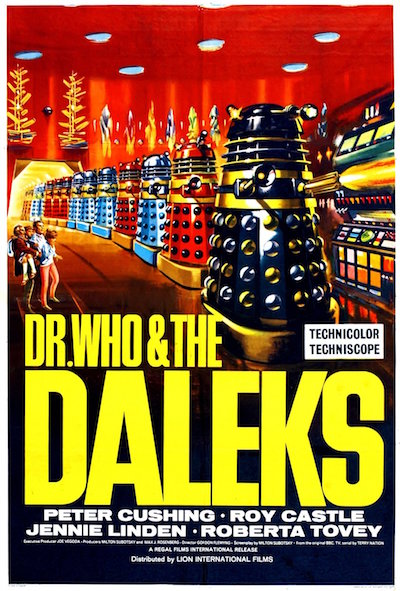 "Poster for ""Dr. Who & the Daleks"" feature film from Amicus Productions (1965)."